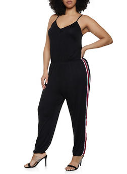 8b9bbe2cde3 Plus Size Striped Tape Trim Cami Jumpsuit - 0392054260787