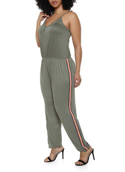 5e1b9238f5ce9 Plus Size Striped Tape Trim Cami Jumpsuit - 0392054260787