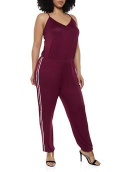 Plus Size Striped Tape Trim Cami Jumpsuit - 0392054260787