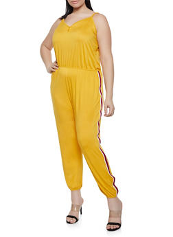 Plus Size Striped Tape Trim Cami Jumpsuit - 0392054260787