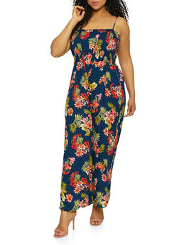 Plus Size Sleeveless Floral Palazzo Jumpsuit - 0392054260842