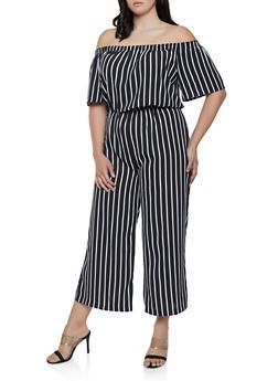 Plus Size Striped Wide Leg Off the Shoulder Jumpsuit - 0392054261268