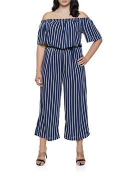 Plus Size Striped Wide Leg Off the Shoulder Jumpsuit - 0392054261268