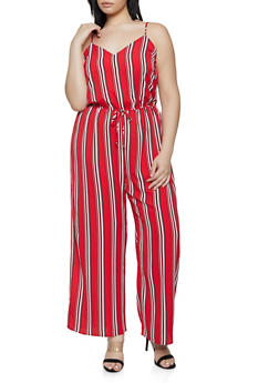 Plus Size Striped Cami Jumpsuit - 0392054261747