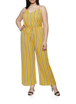 f8a8fb82d0 Plus Size Striped Cami Jumpsuit - 0392054261747