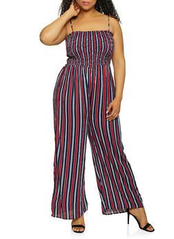 Plus Size Striped Sleeveless Palazzo Jumpsuit - 0392054261842