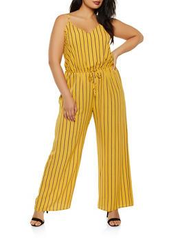Plus Size Striped Wide Leg Crepe Knit Jumpsuit - 0392054262747