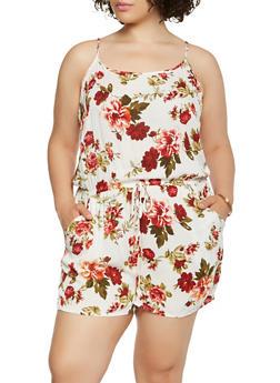 Plus Size Floral Print Romper - 0392054265742
