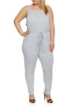 Plus Size French Terry Cami Jumpsuit - 0392054265786