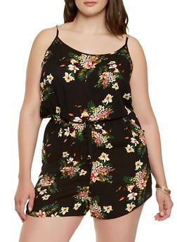 Plus Size Gauze Knit Floral Romper - 0392054267742