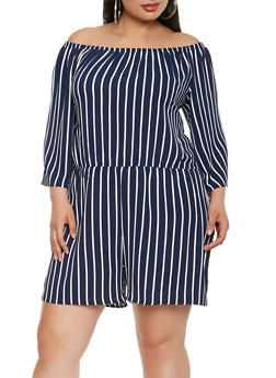 Plus Size Striped Off the Shoulder Romper - 0392054268452