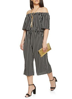 Plus Size Striped Off the Shoulder Cropped Jumpsuit - 0392054268999