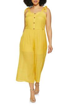 Plus Size Tie Strap Wide Leg Jumpsuit - 0392056121790