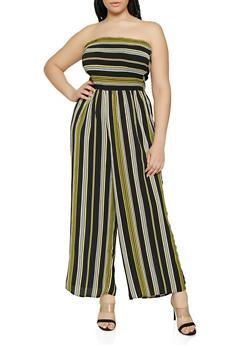 Plus Size Striped Wide Leg Tube Jumpsuit - 0392056129143