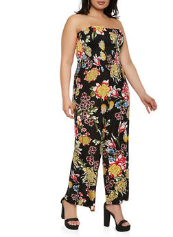 Plus Size Printed Tube Wide Leg Jumpsuit - 0392056129207