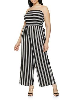 Plus Size Wide Leg Striped Tube Jumpsuit - 0392056129212