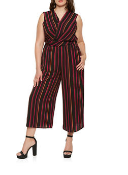 Plus Size Striped Faux Wrap Jumpsuit - 0392056129222