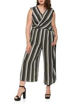 Plus Size Striped Faux Wrap Jumpsuit - 0392056129223