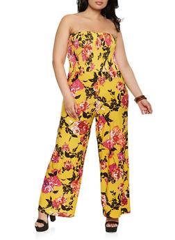 Plus Size Printed Tube Wide Leg Jumpsuit - 0392056129240