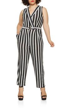 Plus Size Striped Faux Wrap Jumpsuit - 0392056129248