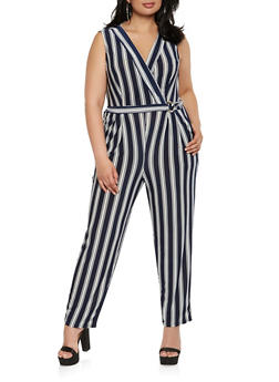 Plus Size Striped Faux Wrap Jumpsuit - 0392056129249