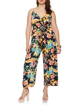 Plus Size Floral Chain Faux Wrap Jumpsuit - 0392056129275