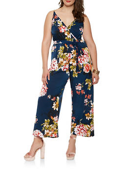 Plus Size Floral Chain Faux Wrap Jumpsuit - 0392056129276