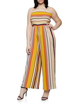 Plus Size Striped Tube Jumpsuit | 0392056129287 - 0392056129287