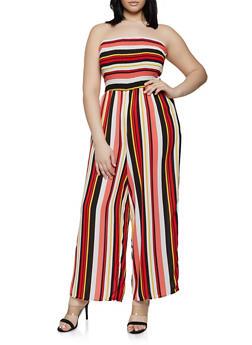 Plus Size Striped Tube Jumpsuit | 0392056129288 - 0392056129288