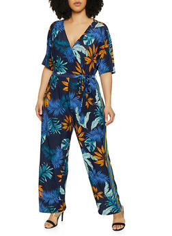 Plus Size Tropical Print Palazzo Jumpsuit - 0392056129336