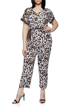 Plus Size Animal Print Tie Waist Jumpsuit - 0392056129342
