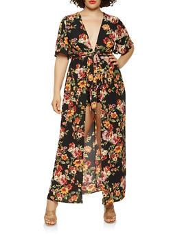 Plus Size Floral Open Back Maxi Romper - 0392058750031