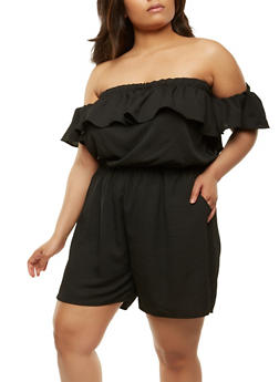 Plus Size Off the Shoulder Romper - 0392058750037