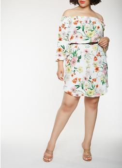 Plus Size Floral Belted Off the Shoulder Dress - 0392058752162