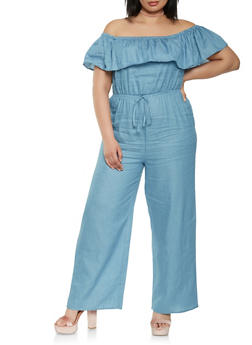 Plus Size Off the Shoulder Chambray Jumpsuit - 0392058753072
