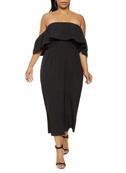 Plus Size Off the Shoulder Gaucho Jumpsuit - 0392058753100