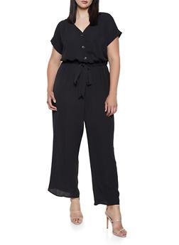 Plus Size Textured Crepe Wide Leg Jumpsuit - 0392058753280