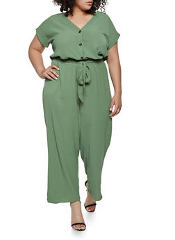 Plus Size Textured Crepe Wide Leg Jumpsuit - 0392058753280