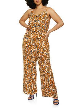 Plus Size Printed Crepe Knit Jumpsuit - 0392058753317