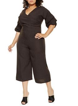 Plus Size Striped Faux Wrap Cropped Jumpsuit - 0392058753790