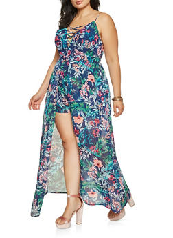 Plus Size Printed Lace Up Maxi Romper - 0392058754482