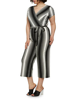 Plus Size Striped Faux Wrap Capri Jumpsuit with Short Sleeves - 0392060583112
