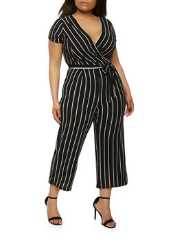 Plus Size Striped Faux Wrap Jumpsuit with Short Sleeves - 0392060583125