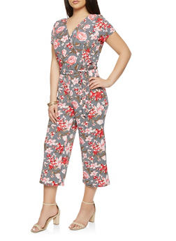 Plus Size Printed Capri Jumpsuit - 0392060583190