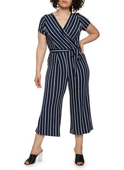 Plus Size Striped Faux Wrap Capri Jumpsuit with Short Sleeves - 0392060583275