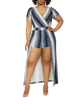 Plus Size Striped Faux Wrap Maxi Romper with Sleeves - 0392060584113