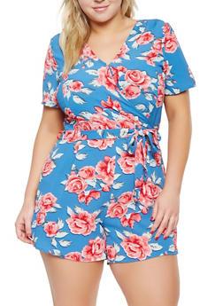 Plus Size Floral Faux Wrap Romper - 0392060584274