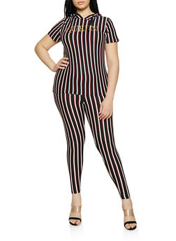Plus Size Striped Foil Queen Hooded Top and Leggings - 0392061630163