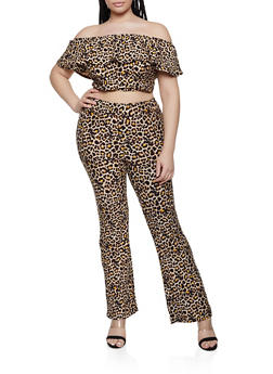 Plus Size Leopard Off the Shoulder Top and Bell Bottoms Set - 0392061630164