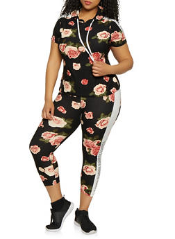 Plus Size Floral Love Trim Top and Leggings Set - 0392061630166